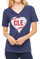 I Heart CLE Baseball Ladies V-neck