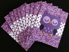 OWL DARK PURPLE NOTE CARDS