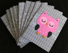 OWL HOT PINK NOTE CARDS