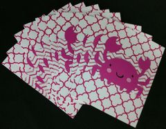 CRAB DARK PINK NOTE CARDS