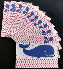 WHALE DARK BLUE NOTE CARDS