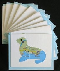 Oahu Seal Map Note Cards