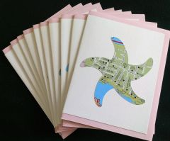 Oahu Starfish Map Note Cards