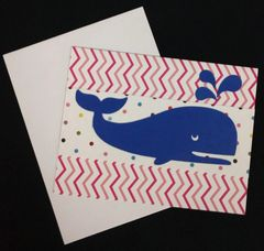 Whale Dark Blue Note Card 01