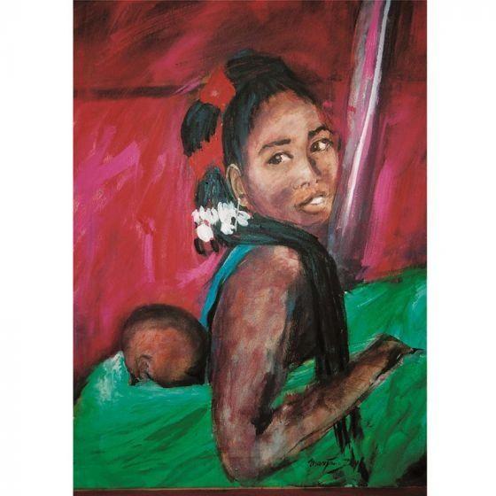 Woman with Hair Adornment by Marjan van Zeyl Postcards - 1 postcard