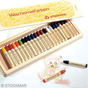 Stockmar Wax stick Crayons - 24 colours in wooden box