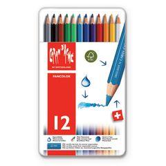 Caran d'Ache Fancolor Watercolour Pencils - 12 colours Tin