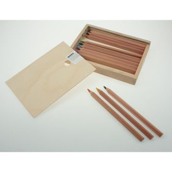 Yorik triangular unlacquered - assorted - 12 Pencils in wooden box