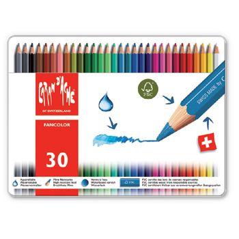 Caran d'Ache Fancolor Watercolour Pencils - 30 colours in tin