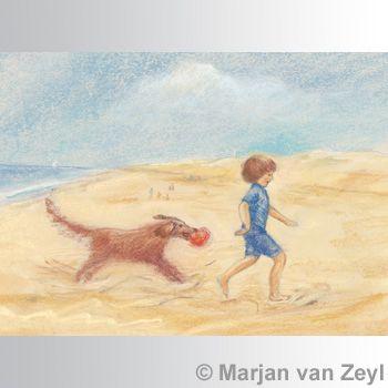 Dog with Ball postcard, 1 piece