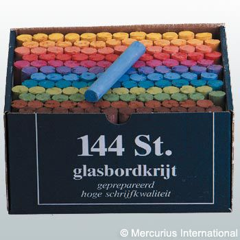 Blackboard chalk - 12 colours assorted - 144 pieces