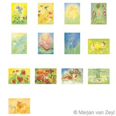 Assortment Nature and Mythical Creatures -13 Postcards - by Marjan van Zeyl