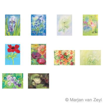 Assortment Flowers - 10 Postcards - by Marjan van Zeyl