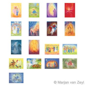 Assortment Seasons and Seasonal Festivals I - 17 Postcards - by Marjan van Zeyl