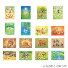 Assortment Animals - 16 Postcards - by Marjan van Zeyl