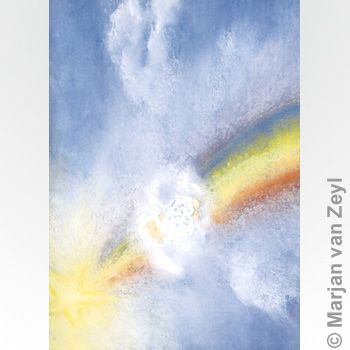 Child on a Rainbow 1 postcard with envelope