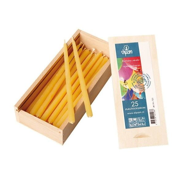 Beeswax Birthday candles in wooden box 25ct