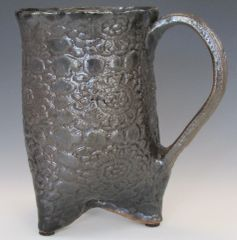 Black Glazed 3 Footed Mug