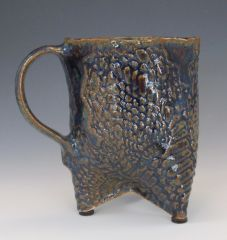 Blue Brown 3 Footed Mug