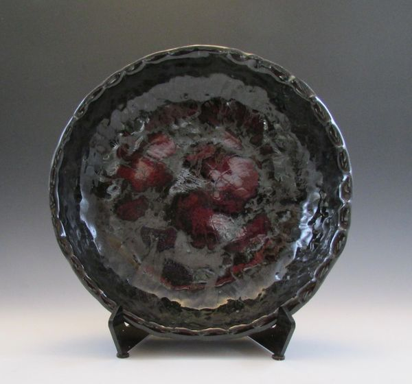 Black with Splashes of Bright Red Hand-built Low Bowl