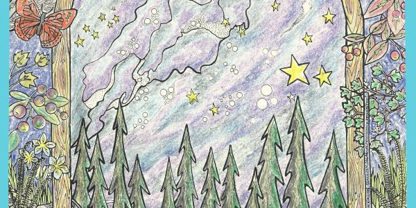 Colored sample of Milky Way Minne-Mural Coloring Art Poster from Kolling Cards and Things Made Here!