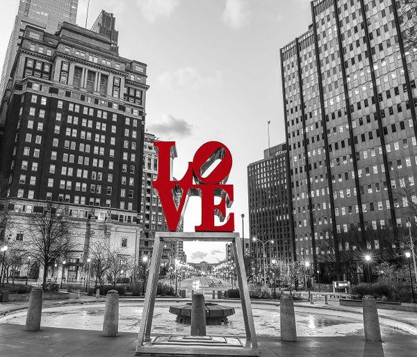 Philadelphia Love Park Black And White At Night
