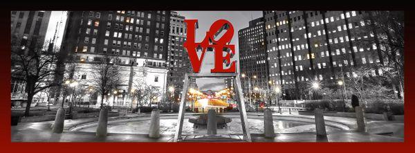 Philadelphia Love Park Panoramic (red and black border) - CENTER LIGHTS