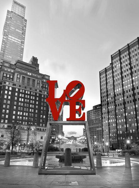 Philadelphia Love Park Black And White At Night (vertical)