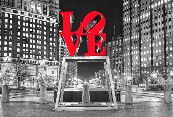 Love Park with Lights in b/w at Night