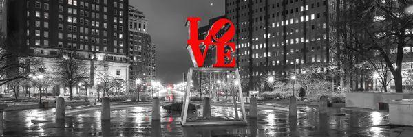 Philadelphia Love Park Panoramic at night