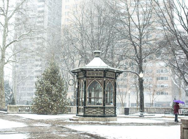 Snow At Philadelphia Rittenhouse square