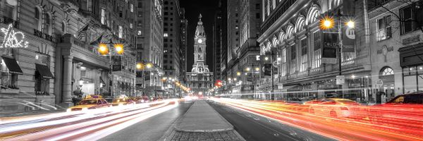 Philadelphia City Hall Night Time from South (Panorama) b/w