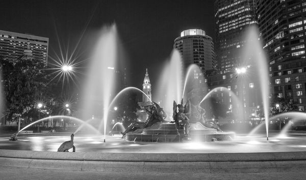 Swann Fountain Logan Circle - Philadelphia PA (20x40) Black and White.