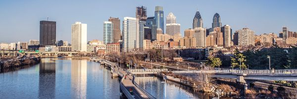 Philadelphia Skyline Panoramic From South Street Bridge Showing the Schuylkill River Board Walk.(20x60)
