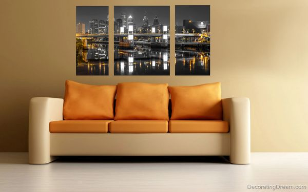 Photography of South Street Bridge with the skyline(30''x54'' Triptych) Canvas Art,Photo,Prints,Wall Art.