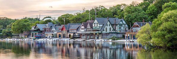 Philadelphia's Boat House Row at sunset,Canvas Art (12x36),Photo,