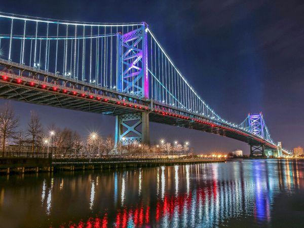 Philadelphia Benjamin Franklin Bridge, Canvas Art- Wall Art-Prints,Digital Prints-Philadelphia Art,Ben Franklin Bridge with Race pier