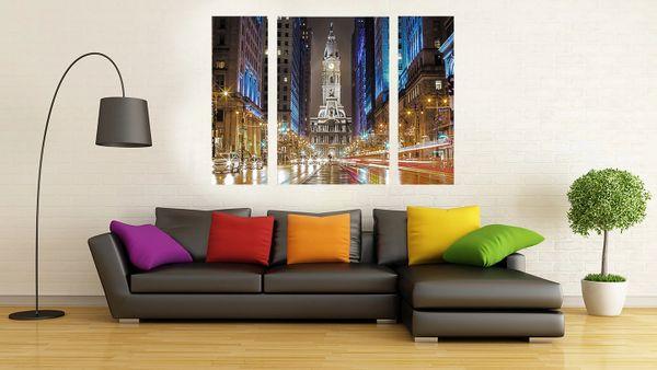Philadelphia City Hall Reflection (36 x48) Canvas Art, Night Time-Philadelphia Art-Photography-Philadelphia Prints-Triptych ,(Three panels)