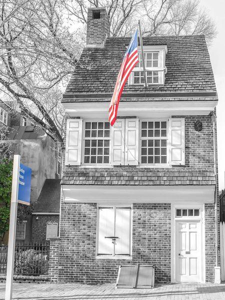 Philadelphia Betsy Ross house, (20x27) Canvas Art- Wall Art-Prints,Digital Prints-Philadelphia Art,,BW.