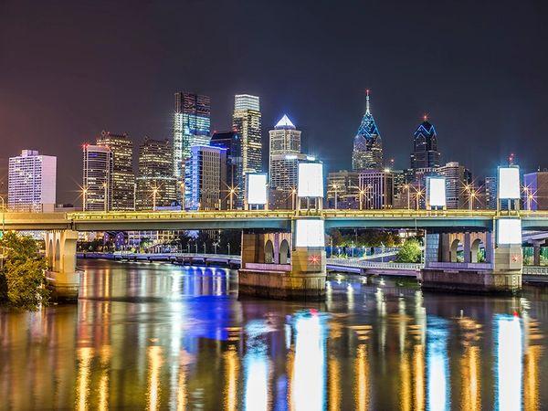 Philadelphia's Photograph of Skyline with South Street Bridge (30x40),Wall Art,Philly Art,Canvas Art.