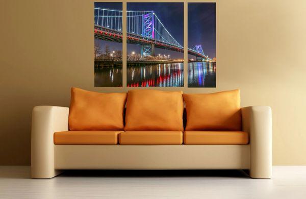 Philadelphia Ben Franklin Bridge with Race Street Pier (36 x48) Canvas Art, Night Time-Philadelphia Art-Photography-Philadelphia Prints-Triptych ,(Three panels)