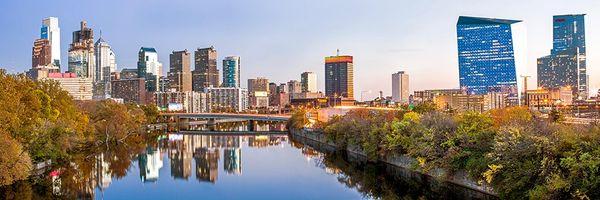 Photography Canvas Art of Philadelphia's Skyline From SpringGarden Bridge (12x36) Panoramic,Photo.
