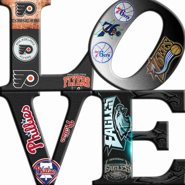 Philadelphia Sports Love Teams 1 ,Canvas Art,Eagle,Phillies,Flyers,Prints,Posters,