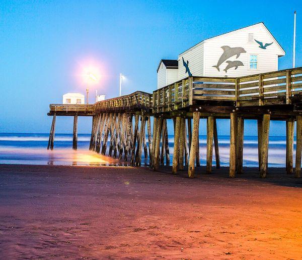 Fishing pier, Ocean city ,NJ at Sunset ,Canvas Art,Photograph,Beach Art .