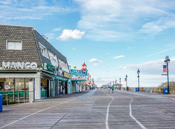 Ocean City NJ Board Walk At Day Time with Manco Pizza.