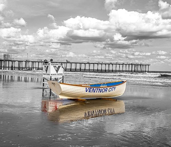 photograph of Ventnor Life guard Black and White , Canvas Art.