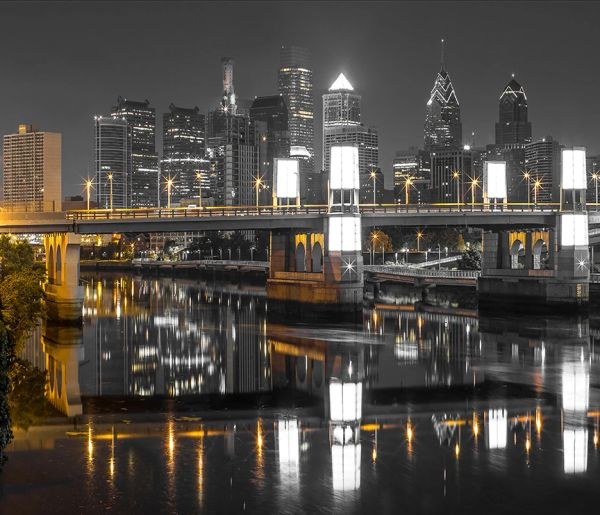 Photography of South Street Bridge with the skyline, Canvas Art