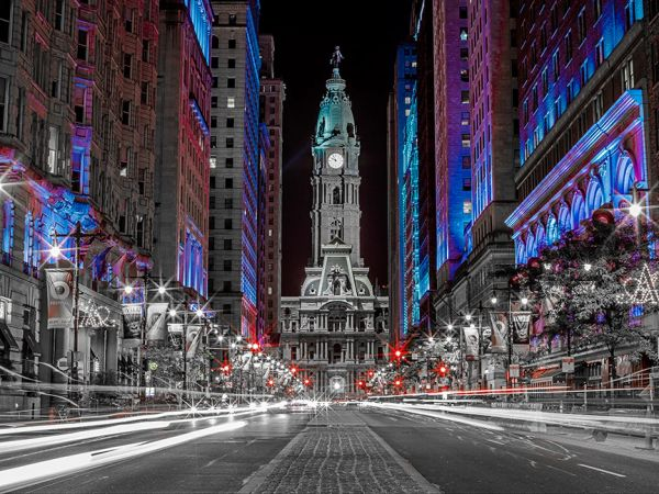 Philadelphia City Hall at Night Canvas Art .Black and White