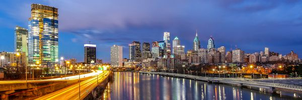 Philadelphia skyline from south street Bridge ,Canvas Art,Panorama