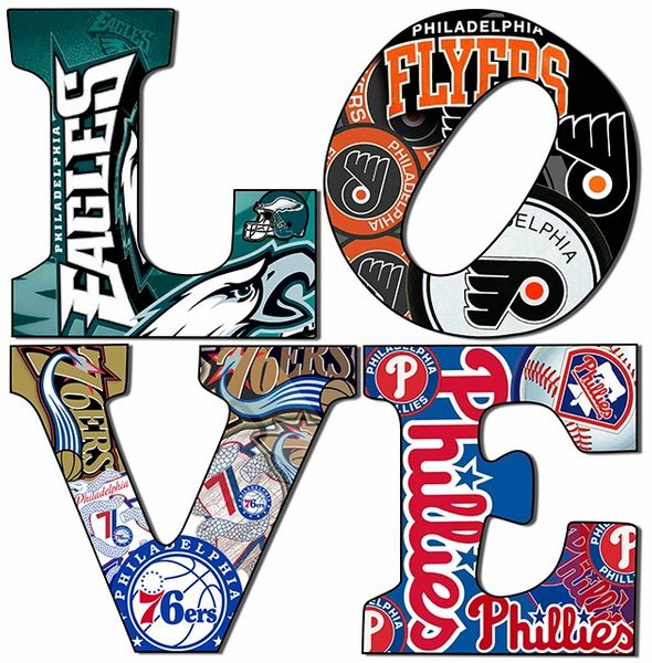 Philadelphia sports Love Teams 5 (12x12),Canvas Art ,Wall Art